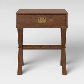Campaign Wood End Table with Drawer Midtone Brown