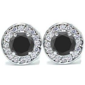 Pompeii3 5/8ct Black & Diamond Round Halo Studs 14