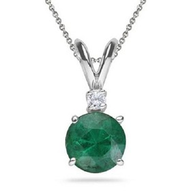 Pompeii3 1 1/20ct Genuine Emerald Solitaire Pendan
