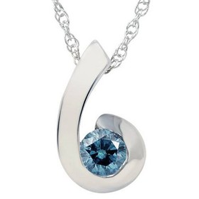 Pompeii3 1/4ct Blue Diamond Solitaire Pendant 14K