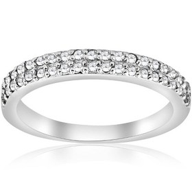 Pompeii3 1/4ct Double Row Diamond Ring 14K White G