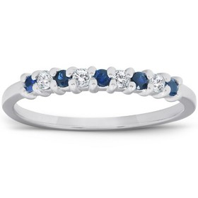 Pompeii3 1/4CT Blue Sapphire & Diamond Wedding Rin
