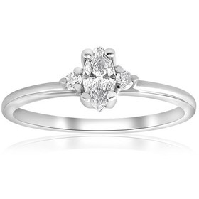 Pompeii3 1/3 Marquise Diamond Engagement Ring 10k