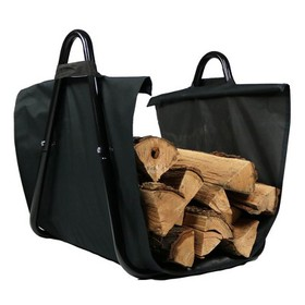 Small Steel Log Rack with Canvas Carrier - Black -