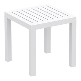 Ocean Square Resin Patio Side Table in White - Com