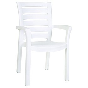 Marina Resin Patio Dining Arm Chair in White - Set