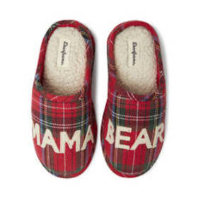 Womens Dearfoams® Mama Bear Plaid Clog Slippers