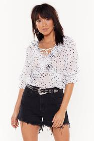 Nasty Gal Womens White Never Too Star Away Ruffle