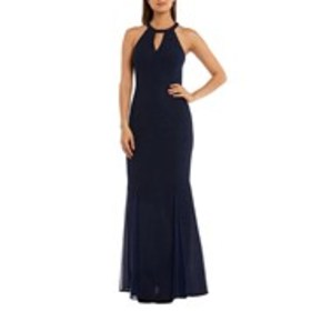 Glittery Halter Gown with Keyhole Cutout
