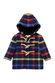 Burberry Brogan Checkered Hooded Wool Toggle Coat