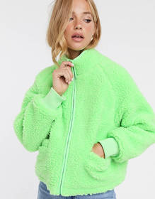 ASOS DESIGN fleece zip through jacket in lime