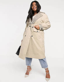 Neon Rose Plus oversized trench coat with check co