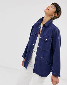 Monki denim overshirt with contrast stitching in d
