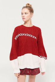 Even Vintage Cable Knit Cross Stitch Sweater