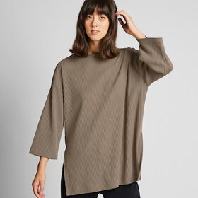 WOMEN WIDE-RIBBED RELAXED 3/4 SLEEVE TUNIC, BEIGE,
