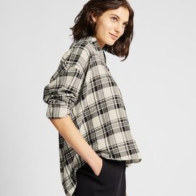 WOMEN FLANNEL CHECKED SKIPPER COLLAR LONG-SLEEVE S