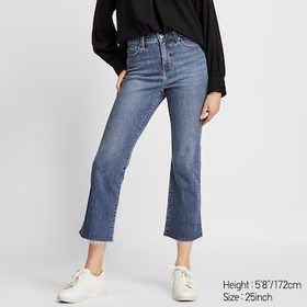 WOMEN HIGH-RISE SKINNY FLARE ANKLE JEANS, BLUE, me