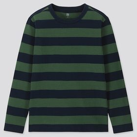 KIDS STRIPED CREW NECK LONG-SLEEVE T-SHIRT, OLIVE,