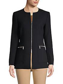 Lafayette 148 New York Roundneck Wool Jacket BLACK