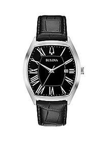 Bulova Classic Leather-Strap Watch NO COLOR