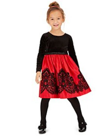 Toddler Girls Flocked Velvet Dress