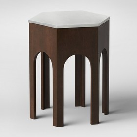 Triller Marble Wooden Hexagon Side Table - Opalhou