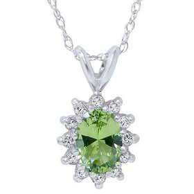 Pompeii3 1 1/6ct Oval Peridot Halo Diamond Pendant