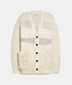 Coach cardigan with shearling