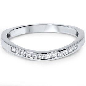 Pompeii3 1/4ct Princess Cut Diamond Curved Guard W