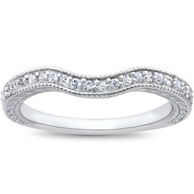 Pompeii3 1/6ct Unique Curved Diamond Wedding Ring