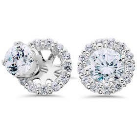 Pompeii3 Women's 5/8ct Diamond Studs & Halo Earrin