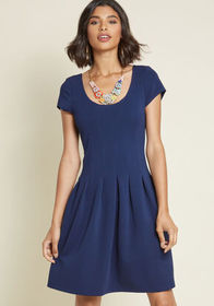 Seams Right to Me A-Line Dress in Navy Navy