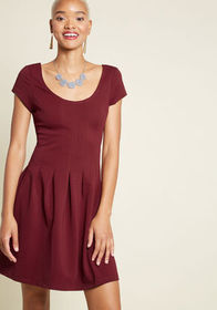 Seams Right to Me A-Line Dress in Burgundy Wine