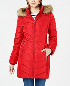 Chevron Faux-Fur Trim Hooded Puffer Coat, Created