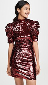 alice + olivia Brenna Sequin Fitted Puff Sleeve Dr