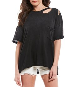 Free People Lucky Knit Distressed Tee