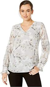 Calvin Klein Printed Top with Pleated Sleeve