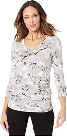 Calvin Klein Printed 3/4 Sleeve Top with Ruching