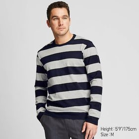 MEN WASHED STRIPED LONG-SLEEVE T-SHIRT, GRAY, medi