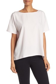 Eileen Fisher Bateau Neck Woven Boxy Top