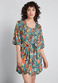 Lively Lounging Robe Green Multi