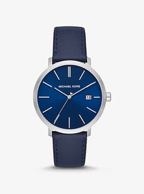 Michael Kors Blake Silver-Tone and Leather Watch