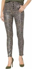 J Brand Lillie High-Rise Crop Skinny in Coated Boa