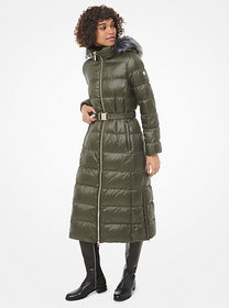 Michael Kors Faux Fur-Trim Quilted Nylon Puffer Co