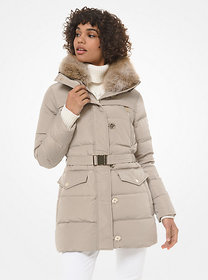 Michael Kors Faux Fur-Trim Quilted Tech Belted Puf