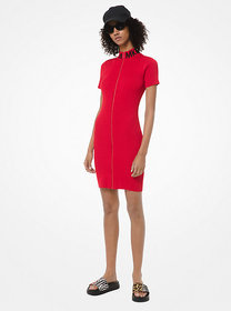 Michael Kors Ribbed Stretch-Viscose Zip-Front Dres