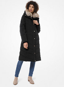 Michael Kors Faux-Fur Trim Quilted Puffer Coat