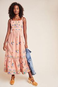 Anthropologie Amber Embroidered Maxi Dress