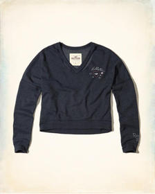 Hollister Cutout V-Neck Crop Sweatshirt, NAVY