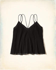 Hollister Pleated Chiffon Cami, Black